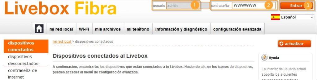 acceso livebox fibra