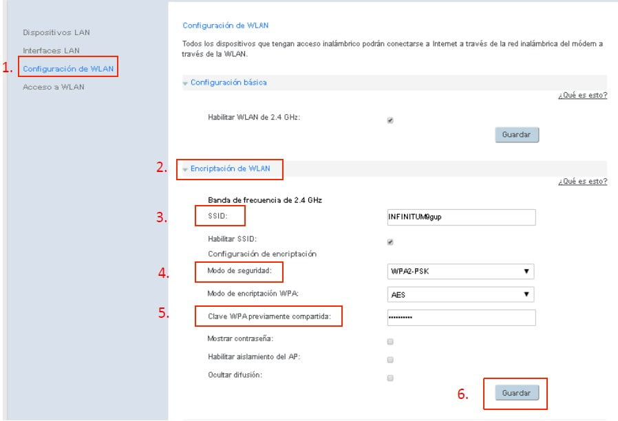 cambiar nombre y clave red wifi modem
