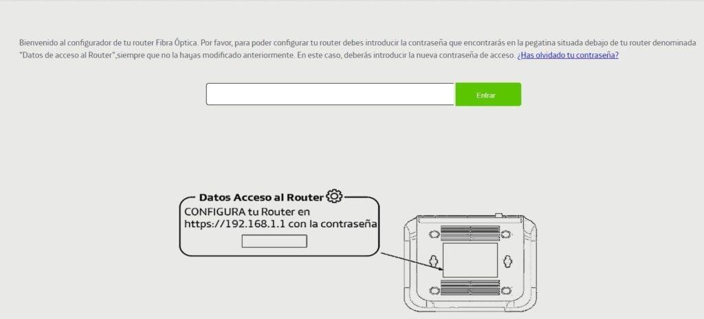 datos configuración router