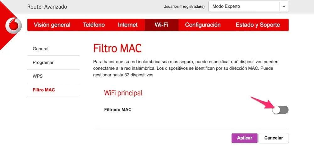 filtrado mac router vodafone