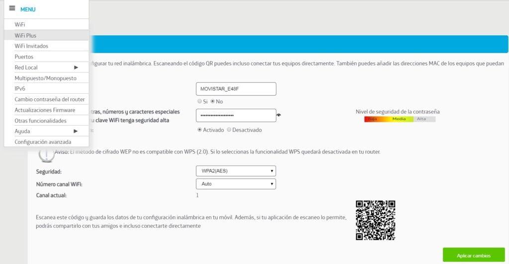 menu opciones configracion router movistar