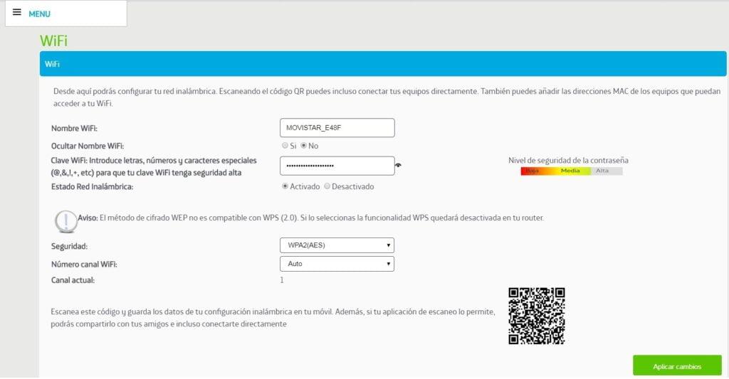 modificar contraseña wifi por navegador