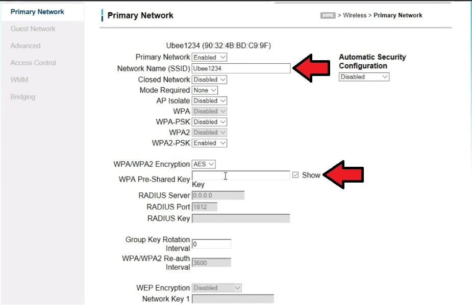 nombre y contraseña red wifi modem ubee